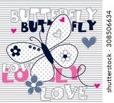 cute butterfly on striped... | Shutterstock .eps vector #308506634
