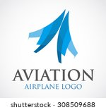 aviation airplane fly blue...   Shutterstock .eps vector #308509688