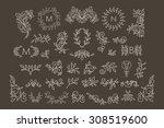big vector set of line floral...