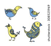 set of four colored blue and... | Shutterstock .eps vector #308525969