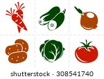 collection of six simple vector ... | Shutterstock .eps vector #308541740