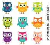 isolated vector cartoon owls... | Shutterstock .eps vector #308545394