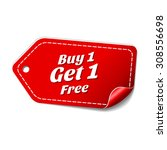 buy 1 get 1 free red vector icon | Shutterstock .eps vector #308556698