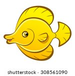 Smiling Cartoon Yellow Fish On...
