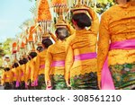 procession of beautiful... | Shutterstock . vector #308561210