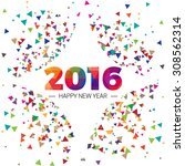 happy new year 2016 paper text... | Shutterstock .eps vector #308562314