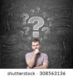 brainstorming of young man.... | Shutterstock . vector #308563136