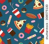 flat style junk fast food... | Shutterstock .eps vector #308575130