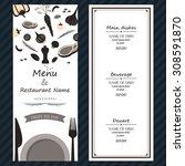 meat vegetable plate spoon fork ... | Shutterstock .eps vector #308591870