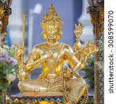 Small photo of Bangkok, Thailand - August 22, 2015: Broken face of Brahma Statue after explosion bombed at Ratchaprasong Intersection in August 18, 2015.
