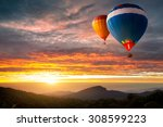 colorful hot air balloons...   Shutterstock . vector #308599223