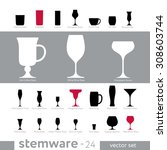 set  stemware for alcoholic... | Shutterstock .eps vector #308603744