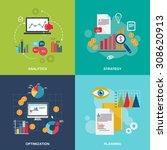 business data flat icons set... | Shutterstock . vector #308620913