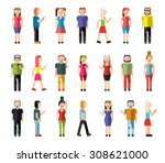 people male and female pixel... | Shutterstock . vector #308621000