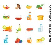 healthy eating flat icons set... | Shutterstock . vector #308621180