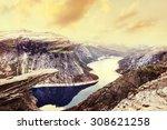 norway scenic mountain... | Shutterstock . vector #308621258