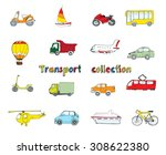 transport doodle colored... | Shutterstock . vector #308622380