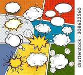 comic blank text speech bubbles ... | Shutterstock . vector #308622560