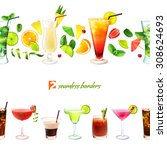 cocktail seamless border with... | Shutterstock . vector #308624693