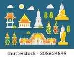 thailand temple infographic...   Shutterstock .eps vector #308624849