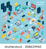 data infographic isometric set... | Shutterstock . vector #308624960