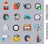 tire service car auto mechanic... | Shutterstock . vector #308625386