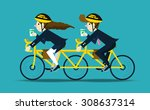 business people cycling to work.... | Shutterstock .eps vector #308637314
