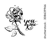 romantic sketch and hand drawn... | Shutterstock .eps vector #308639966