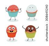 cupcake illustration set. | Shutterstock .eps vector #308645240