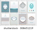 stock vector set of brochures... | Shutterstock .eps vector #308651219