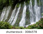 A long exposure of the Juayua waterfalls in El Salvador - stock photo