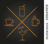 drink set line icons. vector... | Shutterstock .eps vector #308669858