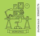 cool linear designer workspace... | Shutterstock .eps vector #308685176
