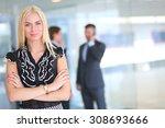 business woman standing in... | Shutterstock . vector #308693666