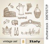 italy. set  | Shutterstock .eps vector #308703719