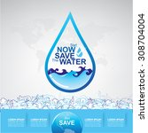 save water concept | Shutterstock .eps vector #308704004