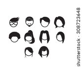 hairstyle icon set | Shutterstock .eps vector #308723648