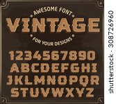 vintage label font with shadow. ... | Shutterstock .eps vector #308726960
