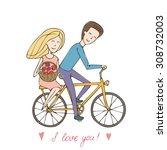boyfriend gave the girl a... | Shutterstock .eps vector #308732003