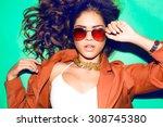 indoor bright fashion summer... | Shutterstock . vector #308745380