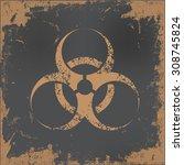 bio hazard design on old paper... | Shutterstock .eps vector #308745824