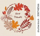 cute vintage thanksgiving day... | Shutterstock .eps vector #308748566