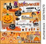 halloween scrapbook elements in ... | Shutterstock .eps vector #308749670