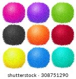 fluffy ball in many colors... | Shutterstock .eps vector #308751290