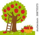 vector illustration of an apple ... | Shutterstock .eps vector #308755373