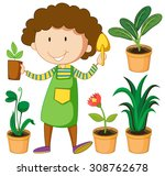 Gardener With Potted Plants...