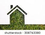 paper house against green... | Shutterstock . vector #308763380