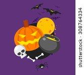 happy halloween pumpkin and... | Shutterstock .eps vector #308764334