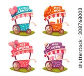 set of fast food carts. ice... | Shutterstock .eps vector #308768003