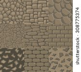 vector cartoon stone wall... | Shutterstock .eps vector #308775374